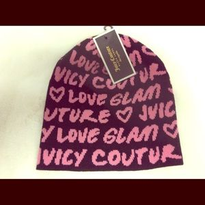 Juicy Couture Love Glam Black & Hot Pink Beanie